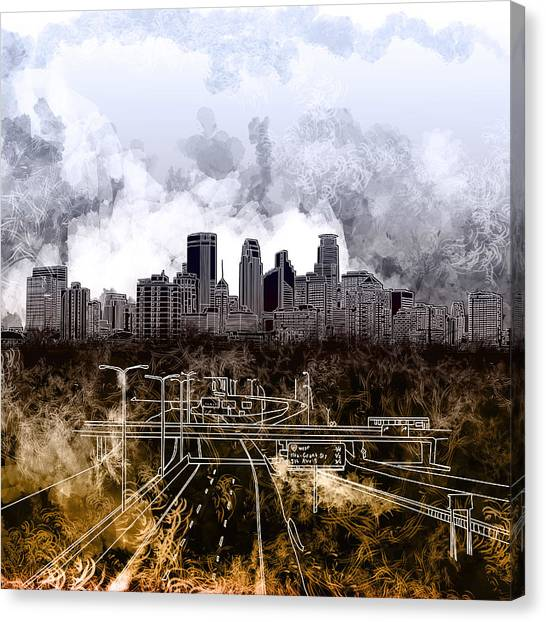 Mississippi River Canvas Print - Minneapolis Skyline Abstract by Bekim Art