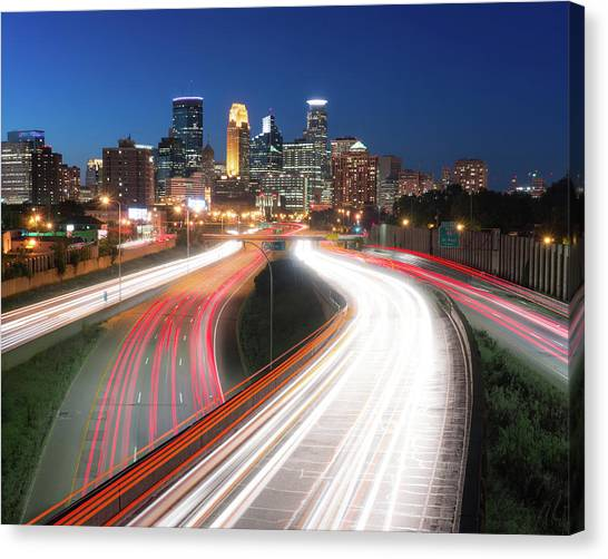 Interstates Canvas Print - Minneapolis Skyline And Traffic Flow by Jim Hughes
