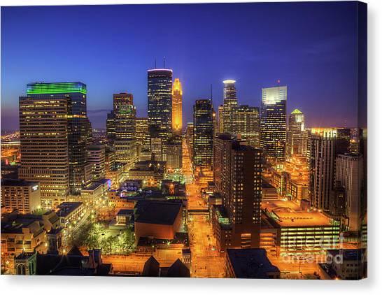Marquette University Canvas Print - Minneapolis Skyline Art Marquette Avenue by Wayne Moran