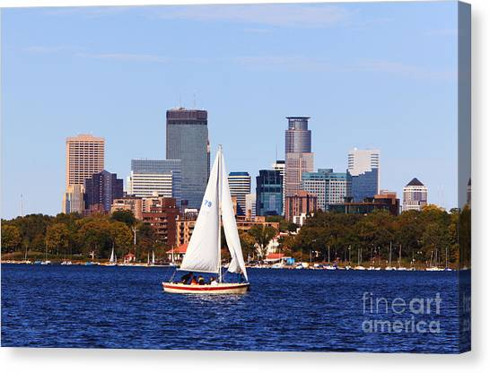 Minneapolis Skyline Lake Calhoun Sailing Canvas Print