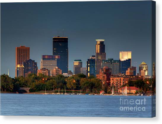 Minneapolis Skyline Photography Lake Calhoun Summer Evening Canvas Print