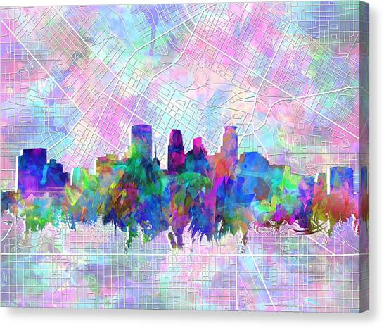 Mississippi River Canvas Print - Minneapolis Skyline Watercolor by Bekim Art