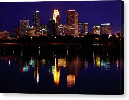 Mississippi River Canvas Print - Minneapolis Twilight by Rick Berk