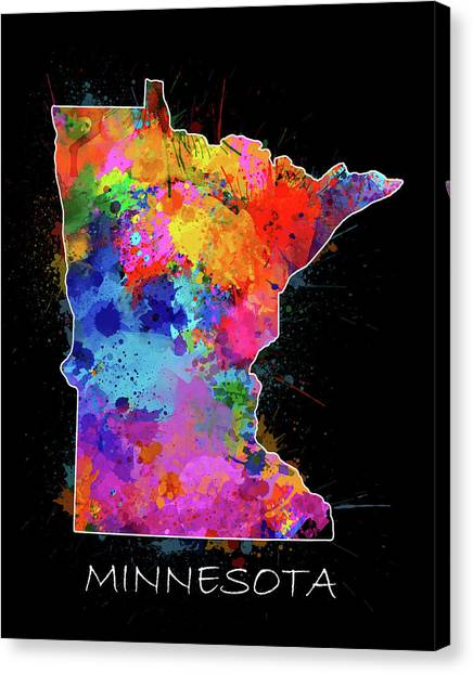 Minnesota Vikings Canvas Print - Minnesota Map Color Splatter 2 by Bekim Art