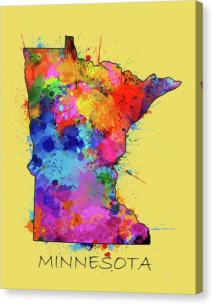 Minnesota Twins Canvas Print - Minnesota Map Color Splatter 4 by Bekim Art
