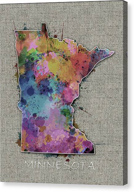 Minnesota Twins Canvas Print - Minnesota Map Color Splatter 5 by Bekim Art