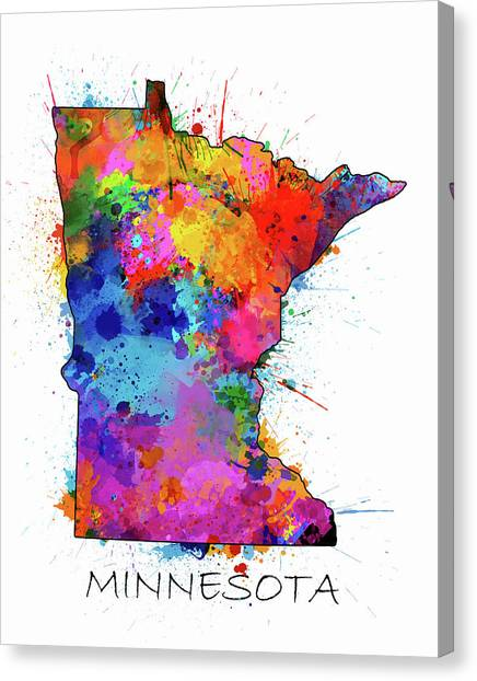 Minnesota Twins Canvas Print - Minnesota Map Color Splatter by Bekim Art