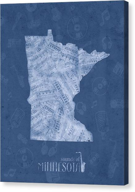 Minnesota Twins Canvas Print - Minnesota Map Music Notes 5 by Bekim Art
