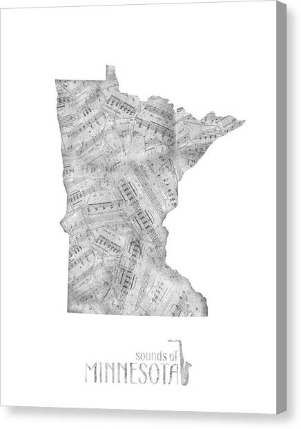 Minnesota Twins Canvas Print - Minnesota Map Music Notes by Bekim Art