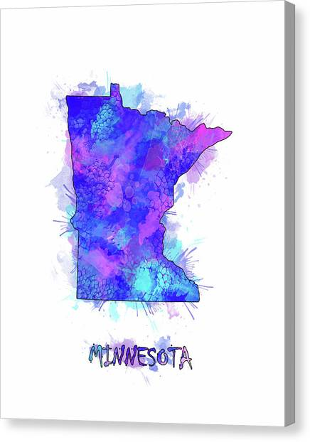 Minnesota Twins Canvas Print - Minnesota Map Watercolor 2 by Bekim Art