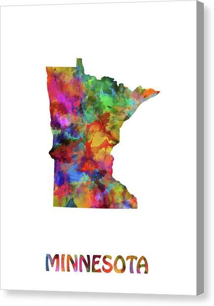 Minnesota Twins Canvas Print - Minnesota Map Watercolor by Bekim Art
