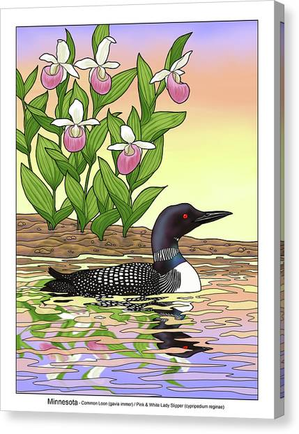 Loons Canvas Print - Minnesota State Bird Loon And Flower Ladyslipper by Crista Forest