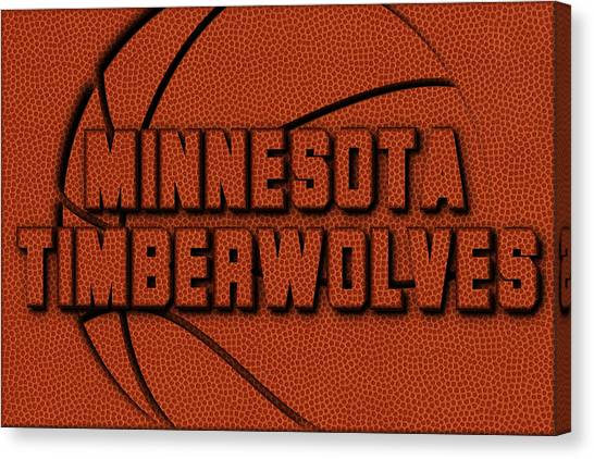 Minnesota Timberwolves Canvas Print - Minnesota Timberwolves Leather Art by Joe Hamilton