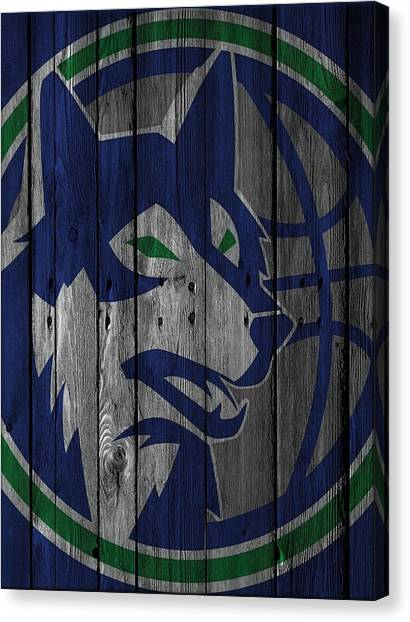 Minnesota Timberwolves Canvas Print - Minnesota Timberwolves Wood Fence by Joe Hamilton
