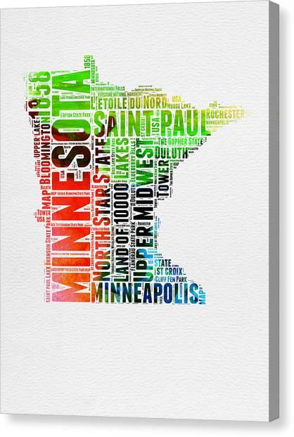 Minnesota Canvas Print - Minnesota Watercolor Word Cloud Map  by Naxart Studio