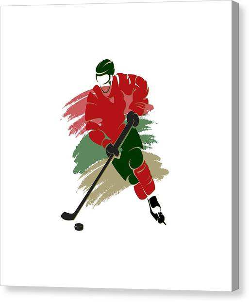 Minnesota Wild Canvas Print - Minnesota Wild Player Shirt by Joe Hamilton