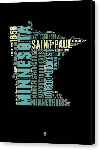 Minnesota Canvas Print - Minnesota Word Cloud Map 1 by Naxart Studio