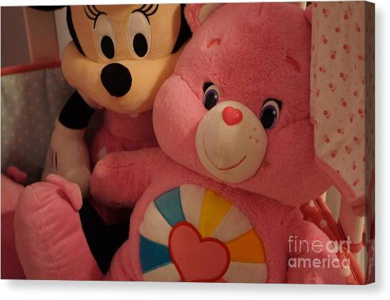 Care Bears Canvas Print - Minnie Mouse And Pink Care Bear by Maxine Billings