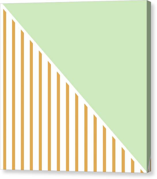 Abstract Art Canvas Print - Mint And Gold Geometric by Linda Woods