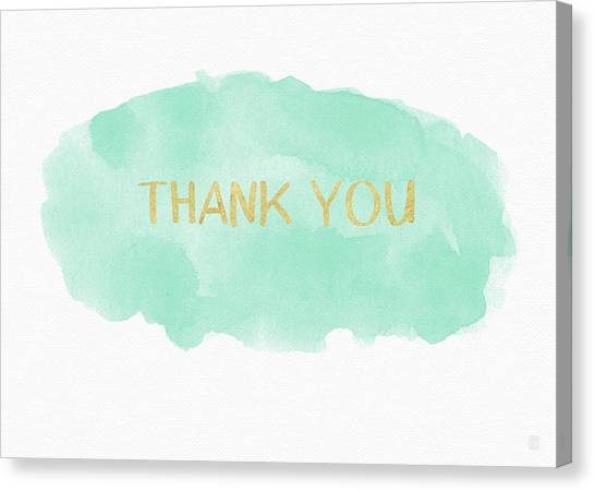 Thank Canvas Print - Mint And Gold Watercolor Thank You- Art By Linda Woods by Linda Woods