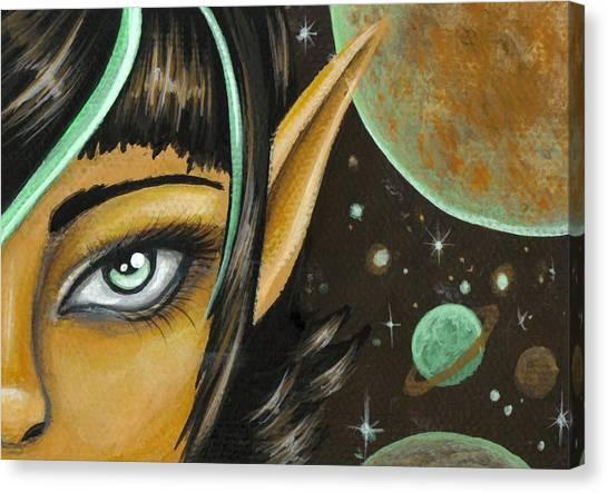 Celestial Canvas Print - Mint Chocolate Skies by Elaina  Wagner