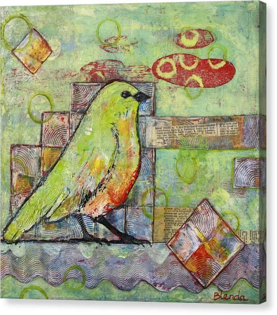 Cute Bird Canvas Print - Mint Green Bird Art by Blenda Studio