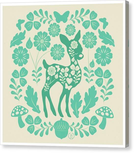 Woodland Canvas Print - Mint Woodland Folk Deer  by Catherine Noel