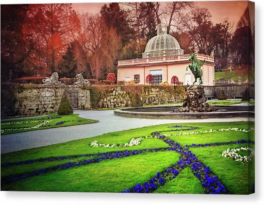 Pegasus Canvas Print - Mirabell Gardens Salzburg  by Carol Japp