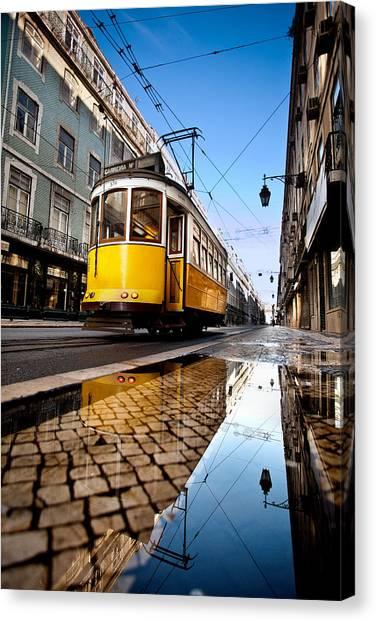 Light Rail Canvas Print - Mirror by Jorge Maia