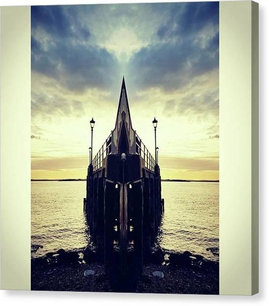 Pontoon Canvas Print - #mirror #pontoon #sunset #sea by Sol Revolver