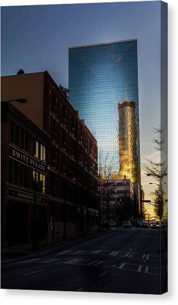 Mirror Reflection Of Peachtree Plaza Canvas Print