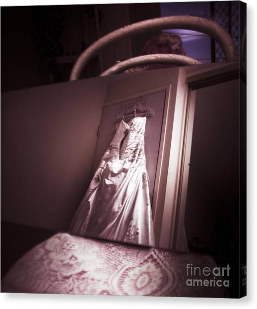 Wedding Gown Canvas Print - Mirror View Of A Traditional White Wedding Dress by Jorgo Photography - Wall Art Gallery