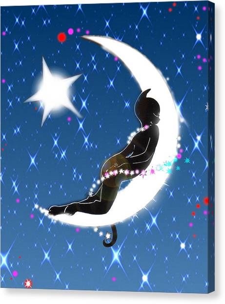 Miss Fifi And Her Sister The Moon Canvas Print by Silvia  Duran