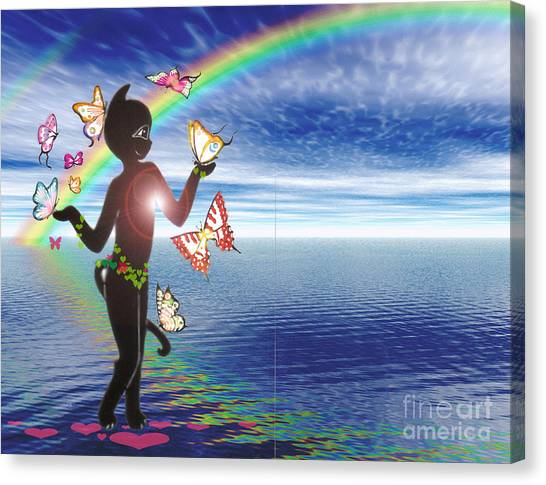 Miss Fifi And The Rainbow Canvas Print by Silvia  Duran