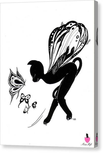 Miss Fifi Is Given Wings Canvas Print by Silvia  Duran