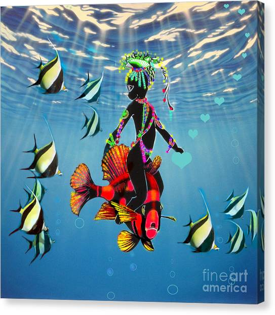 Miss Fifi New Friends In The Ocean Canvas Print by Silvia  Duran