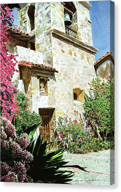 Missions California Canvas Print - Mission Carmel Bell Tower by David Lloyd Glover