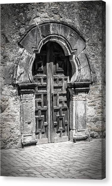 Spanish Fort Canvas Print - Mission Espada Door Bw by Joan Carroll
