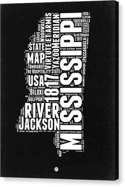 Independence Day Canvas Print - Mississippi Black And White Map by Naxart Studio