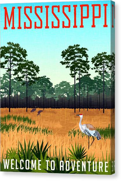 Storks Canvas Print - Mississippi, Field With Trees Under The Blue Sky by Long Shot