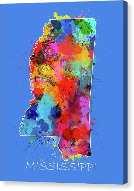 Us Civil War Canvas Print - Mississippi Map Color Splatter 3 by Bekim M