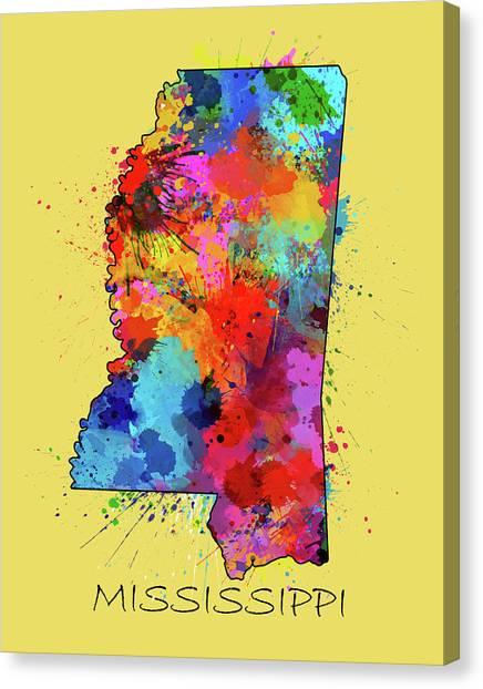 Us Civil War Canvas Print - Mississippi Map Color Splatter 4 by Bekim M