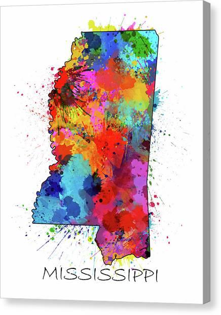 Us Civil War Canvas Print - Mississippi Map Color Splatter by Bekim M