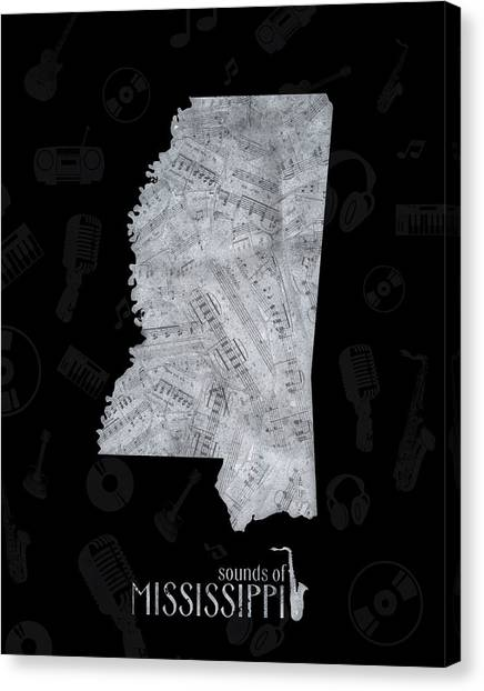 Us Civil War Canvas Print - Mississippi Map Music Notes 2 by Bekim M