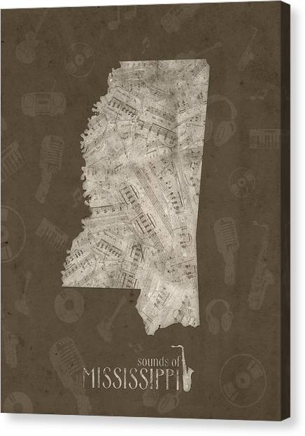 Us Civil War Canvas Print - Mississippi Map Music Notes 3 by Bekim M