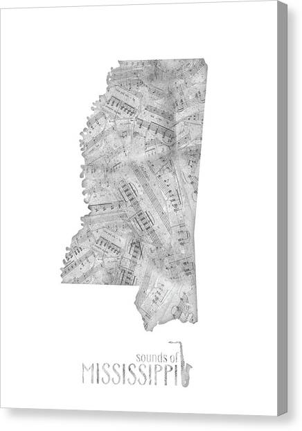 Us Civil War Canvas Print - Mississippi Map Music Notes by Bekim M