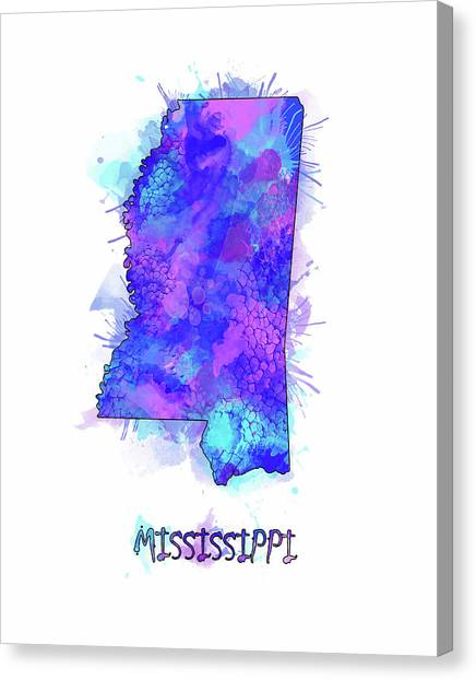 Us Civil War Canvas Print - Mississippi Map Watercolor 2 by Bekim M