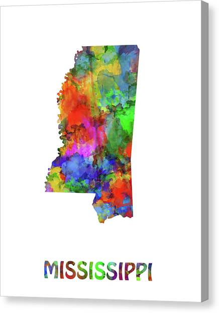 Us Civil War Canvas Print - Mississippi Map Watercolor by Bekim M
