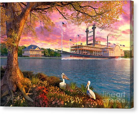 Mississippi River Canvas Print - Mississippi Queen by Dominic Davison