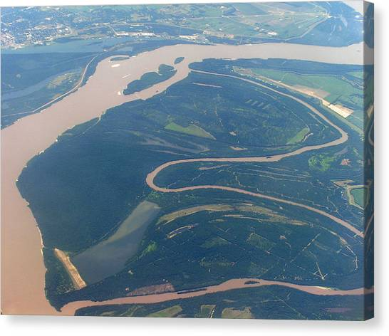 Mississippi River Aerial Shot Canvas Print by Randy Muir